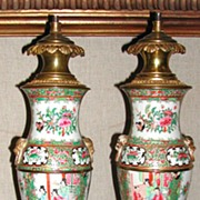 Pair of Rare Chinese Canton Export Lamps