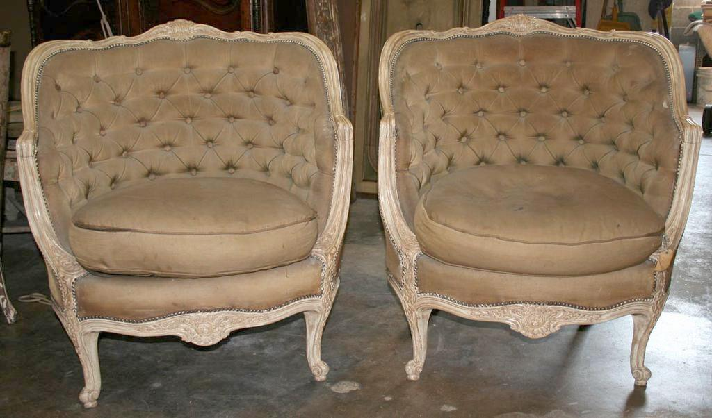 Incredible Pair of Refinished Louis XV Style Bergères