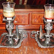 Pristine Pair of Sheffield Plate Chambersticks