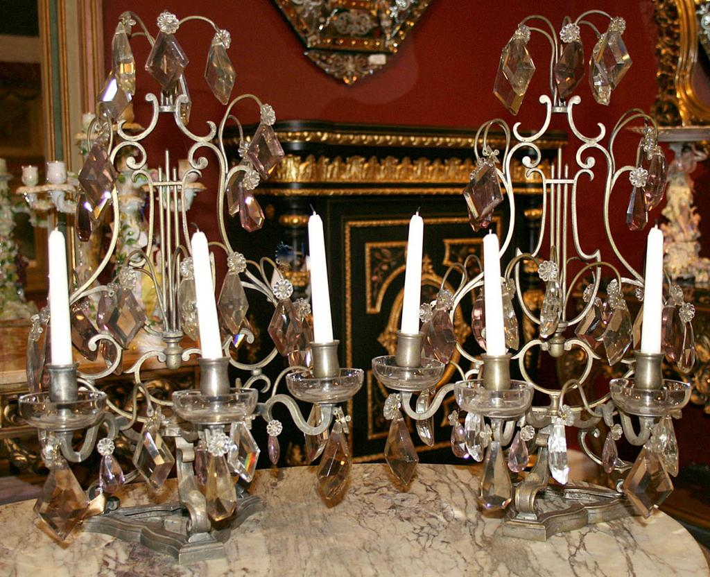 Pair of Lyre Candelabras
