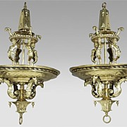 Pair of Brass Renaissance Revival Style Chandeliers