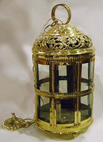 Three Light Brass Repoussé Lantern