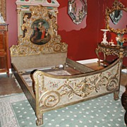Spanish Gilded & Painted Bed