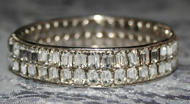 Vintage Rhinestone Clamper Style Bracelet