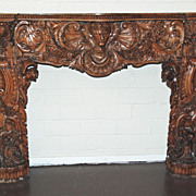 Exquisitely  Carved Italian Walnut Mantle