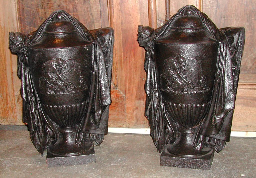 Pair of French Figural Architectural Iron Columns