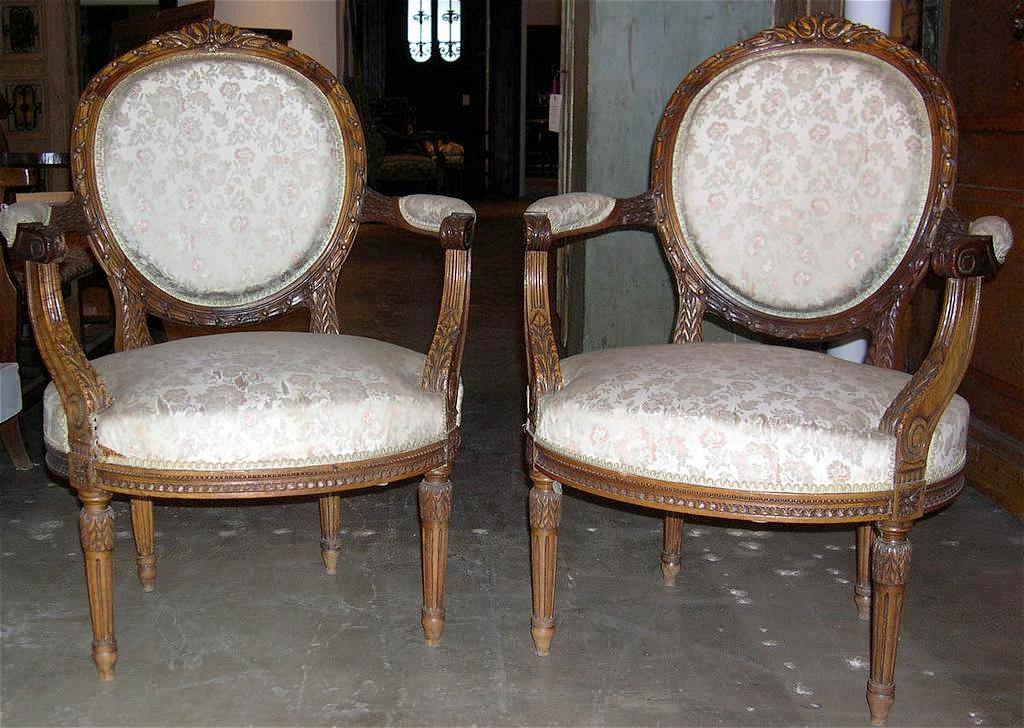 Marvelous Pair of French Louis XVI Style Arm Chairs
