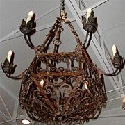 Highly Scrolled French Iron 6 Light Chandelier