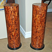 Pair of French Marquetry Columns