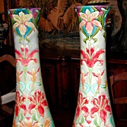 Pair of Majolica Vases, Longchamp