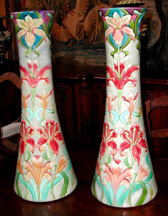 Pair of Majolica Vases, Longchamp