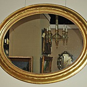 Very Nice French Gilt Oval Mirror