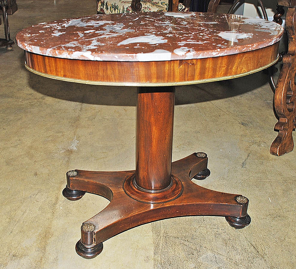 French Oval Marble Top Table