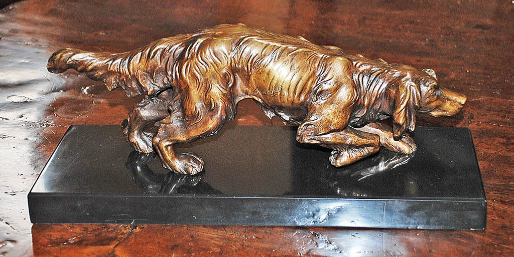 Bronze Setter on Black Marble