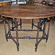 English Oak Gate Leg Barley Twist Table