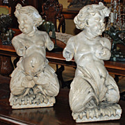 Sculptures of Putti Mermaid and Merman