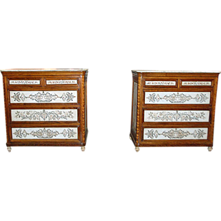 Superb Pair of Marble Inlaid Commodes