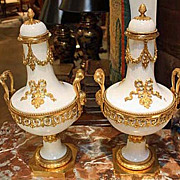 Pair of Porcelain and Gilt Bronze Urns