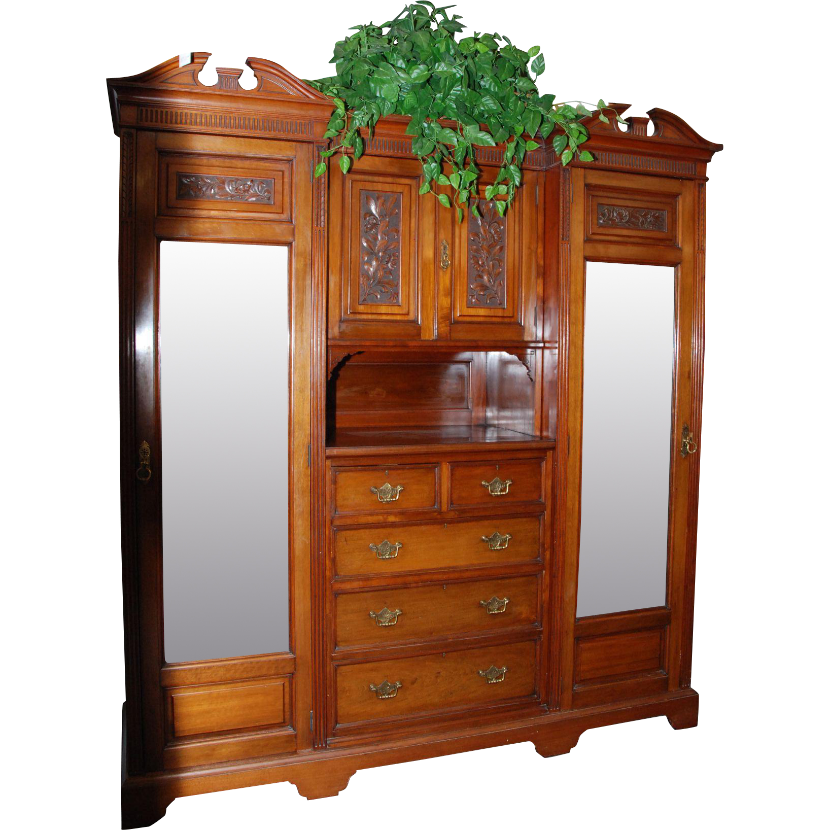 Nicely Carved Walnut Breakfront Wardrobe