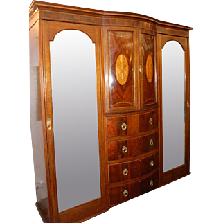 English Mahogany Bowfront Wardrobe