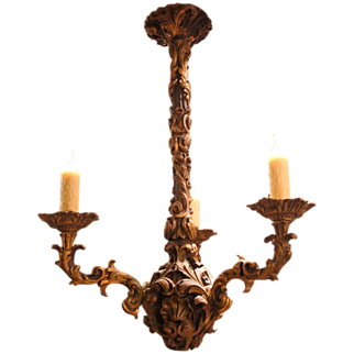 Fabulous French Giltwood 3 Light Chandelier
