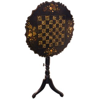 Napoleon III Mother of Pearl Tilt Top Game Table