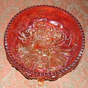 Fenton Lustre Rose Footed Bowl