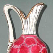 Beautiful Handled Rose Crackled  Pitcher