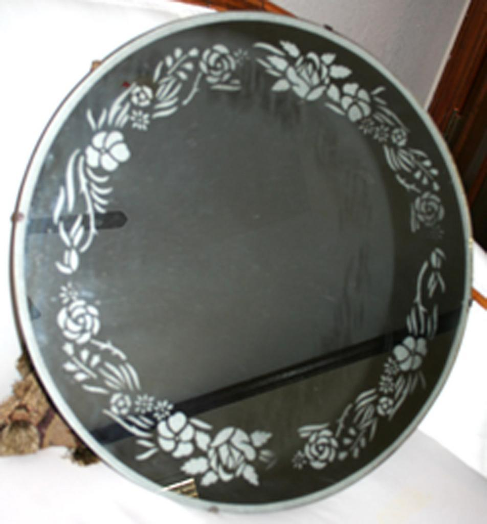 Etched Round Mirror from antiquing-with-pamela on Ruby Lane