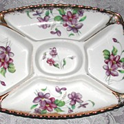 Darling Porcelain Hand-Painted Violet Tidbit Dish