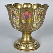 Beautiful Brass Vase with Floral Enameling