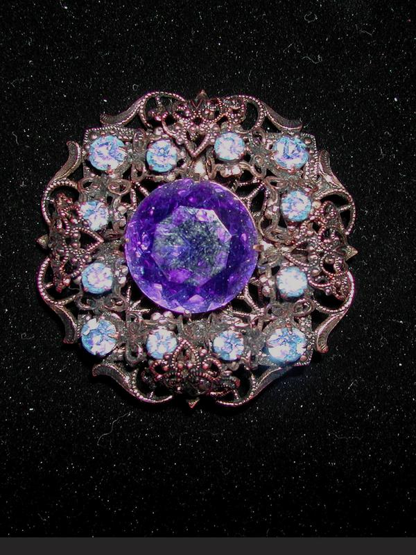 Stunning Cobalt Blue Glass, Rhinestone Brooch in Filigree Setting