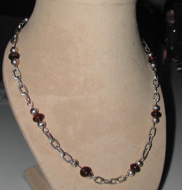 Cute Amber Glass and Silver Link Necklace