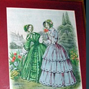 "Nicely Framed Linen Picture, ""Godey's Americanized Paris Fashions 1849"""