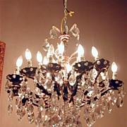 Gorgeous Vintage Continental 12 Arm Chandelier with Chunky Crystals