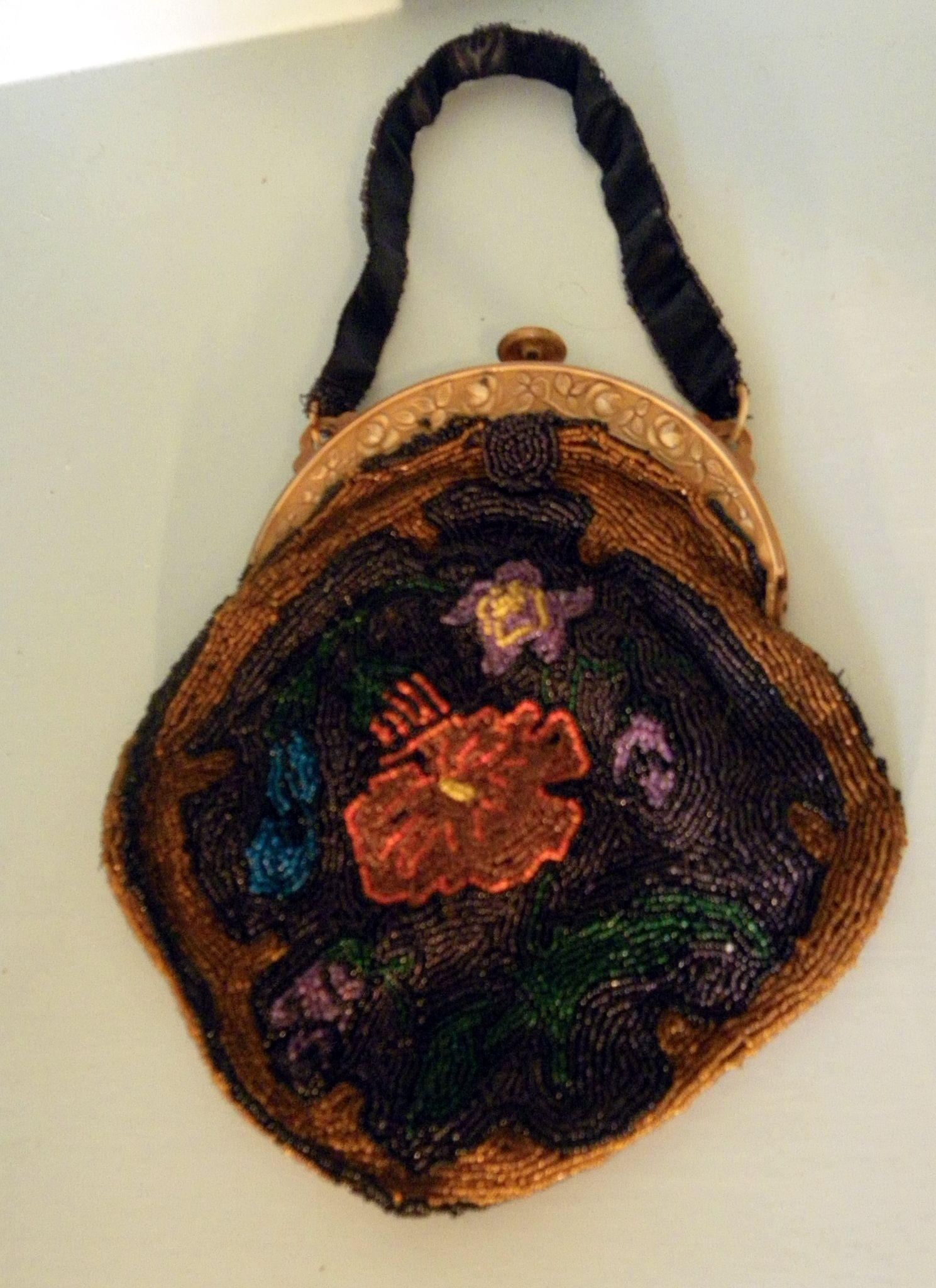 Ladies Vintage Arts & Crafts Style Beaded Purse Bag  Faux Tortoise Shell Celluloid Handle C1900s