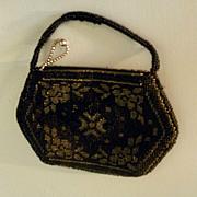 Ladies Elegant Black beaded purse from Czechoslovakia