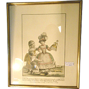 Old French Engraving of Children Playing