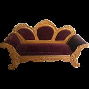 Antique German Schneegas dollhouse sofa