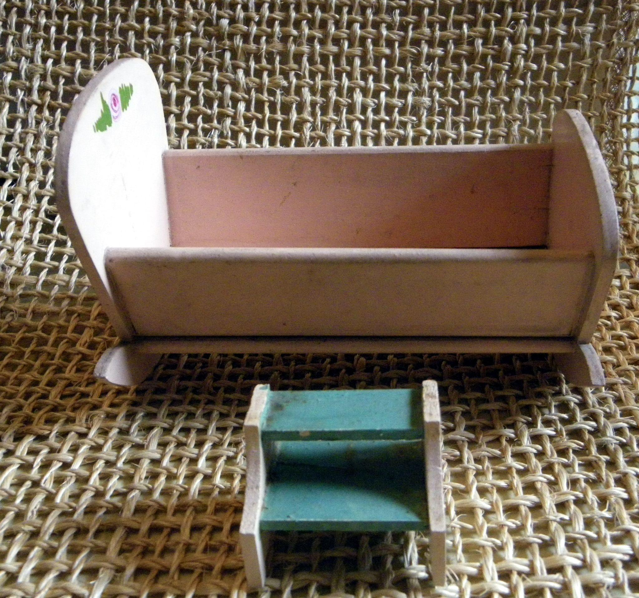 Pink Wooden Doll Cradle with steps