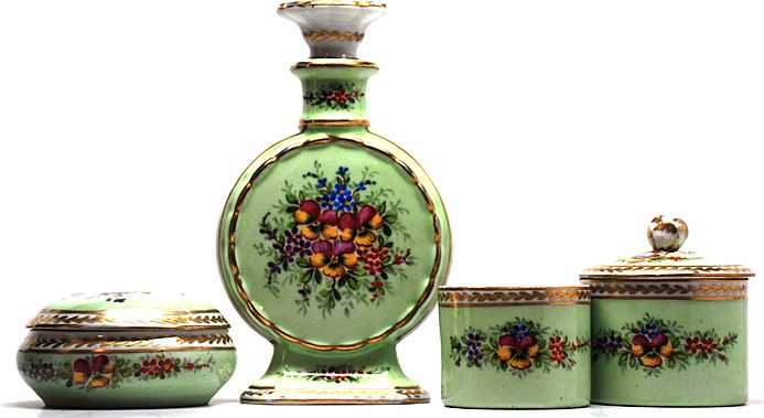 Sevres style Four-Piece Hand Painted Porcelain Dresser Set