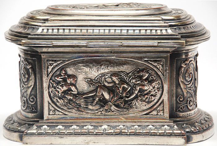 French Silvered Bronze/Brass Coffret/ Box (signed L. Oudry) with Scenes of King Neptune