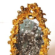 Napoleon III French Bronze Small Standing Vanity Mirror with Original Mirror
