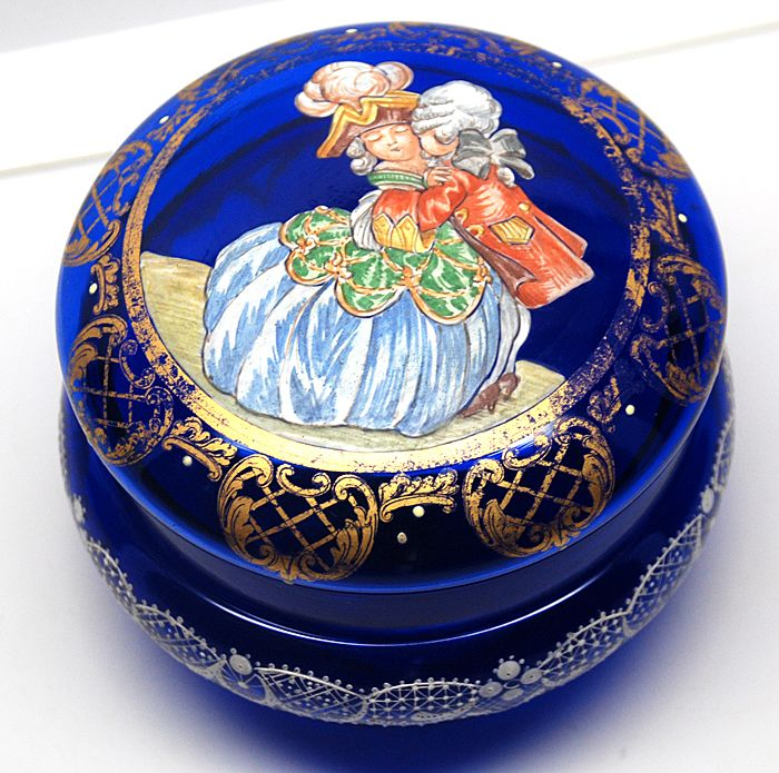 Antique French Cobalt Blue Glass Bonbon Jar with Hand-Painted Lid