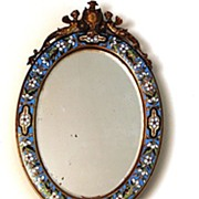 Napoleon III French Bronze Champlevé Hand/Wall Mirror with Ivory Handle