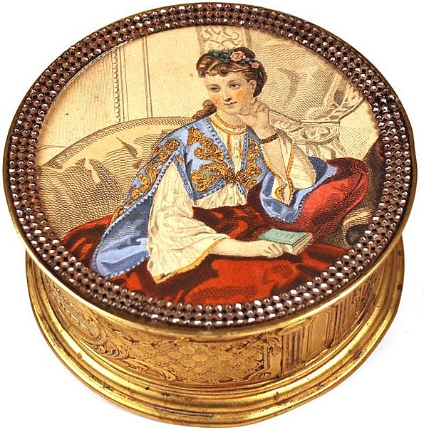 "Antique 19th Century French ""Menier"" Chocolate Box with Hand-Colored Lithograph Under Glass"