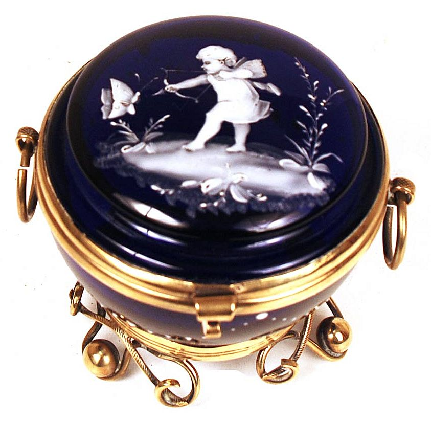 "Nineteenth Century French Cobalt Blue Standing Bonbon Jar ""Cupid and Butterfly"""