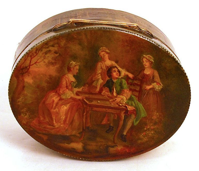 RARE - Marie-Antoinette Period: 1760-1789 Vernis Martin Painted Etui, Snuff Box