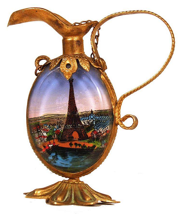 "Antique Nineteenth Century ""Grand Tour"" Eglomise Perfume Bottle/Mirror"