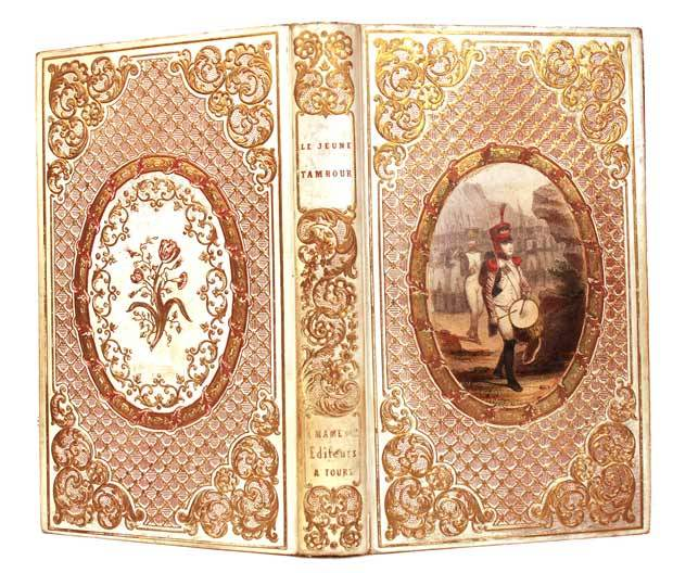 "Gilt Embossed French ""Romantic Binding"" Book with Color Lithograph Medallion circa 1846"